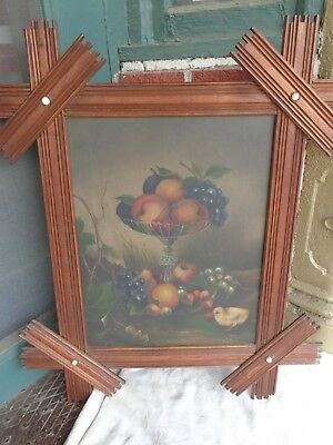 ANTIQUE 19thC VICTORIAN FRUIT BABY CHICK STILL LIFE OIL PAINTING PRIMITIVE FRAME