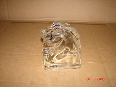 Vintage Mid Century Art Deco Trojan Horse Head Single Bookend Clear Glass Hollow