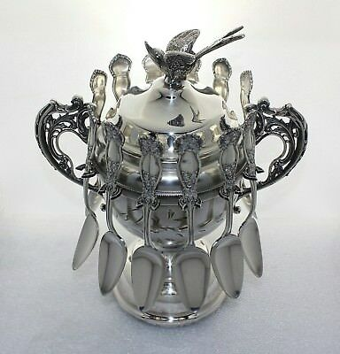 Victorian Silver Pedestal Sugar Bowl Flying Bird Lid & 12 Orange Blossom Spoons