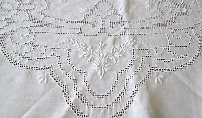 "antique linen tablecloth 80x67"" +12 naps 17"" sq, mosaic punch lace+embroidery"