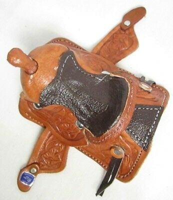 Western Miniature Horse Saddle Christmas Ornament - Leather- Brown Seat - New