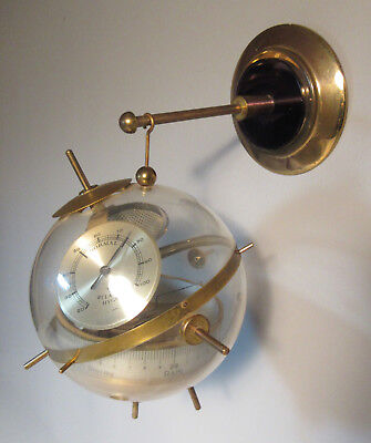 Mid Century BGM Sputnik Weather Station Barometer Space Age c1950 Lucite & Brass