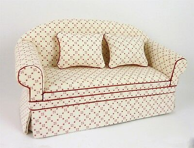 Dollhouse Miniature Ashely White Sofa with Red Dots, A160
