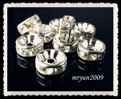 100PCS Jewelry Rondelle Crystal FREE LOT Spacer Silver Making Beads 8mm Crystal