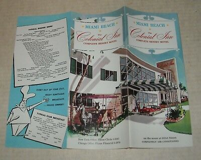 1950's MIAMI BEACH FL FLORIDA The COLONIAL INN RESORT MOTEL TRAVEL BROCHURE