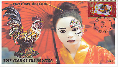 Jvc Cachets - 2017 Lunar Year Of The Rooster First Day Cover Fdc Style #3
