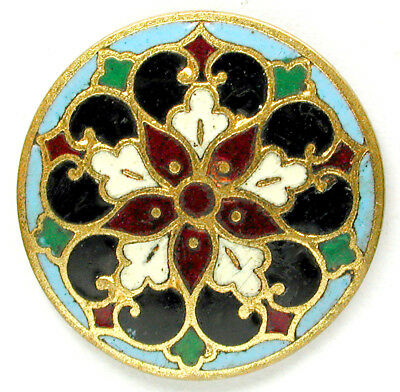 """Antique French Enamel Button Flower on Turquoise design - 1"""""""