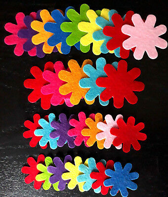 28 Assorted Colour Polyester Felt Flowers - 30mm - 45mm