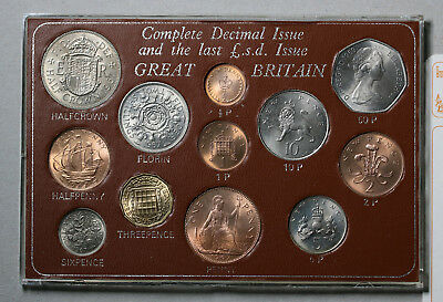 UK Great Britain Last Predecimal - First Decimal Coin Set - 1967-1971 UNC/ BU