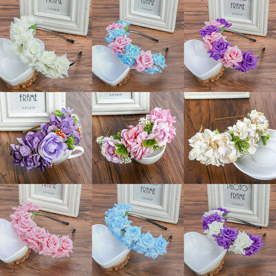 Women Floral Crown Rose Flower Headband Hair Garland Wedding Hair Hoop Wreath