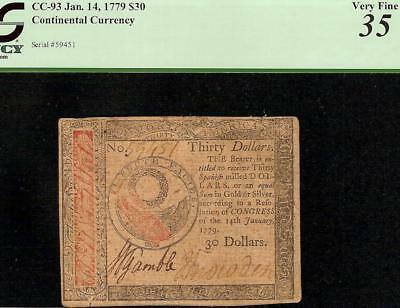 1779 $30 Dollar Bill Continental Currency United States Note Paper Money Pcgs 35