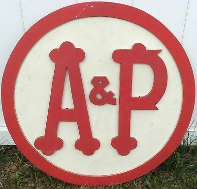 """VINTAGE 1960's A&P Grocery Stores WOOD & HARDBOARD INSIDE STORE Sign  23"""""""