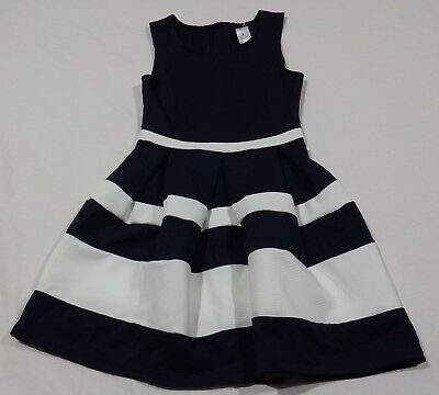 GIRLS size 8 Navy Blue & white striped  PARTY DRESS NEW formal graduation Target
