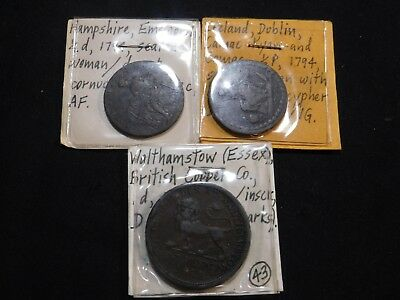 W131 Great Britain & Ireland 1/2 Penny 2 pcs & Penny Token Group 3 pcs total