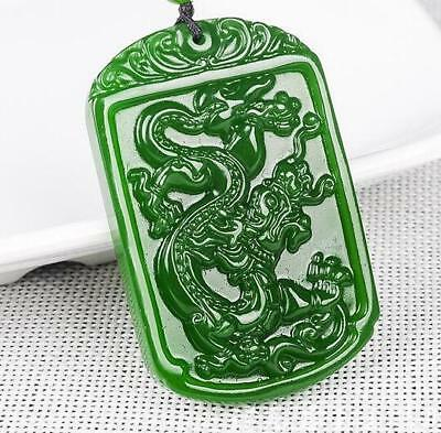 2018 Natural jade pendant Necklace Amulet China hand-carved Green jade dragon
