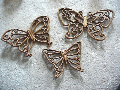 HOMCO SYROCO Vintage 1978 SET of THREE BROWN WICKER LOOK BUTTERFLY WALL PLAQUES
