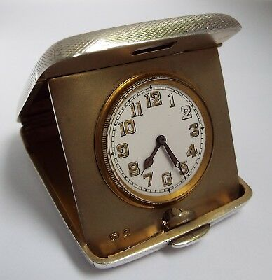 Beautiful English Antique 1926 Solid Sterling Silver Cased Folding Travel Clock