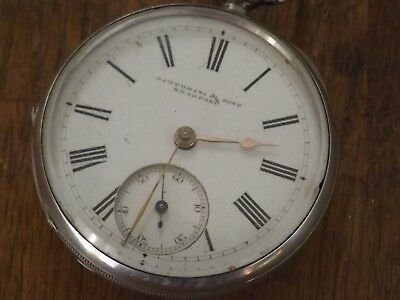 Superb Antique American Waltham  Railroad Solid Silver  Pocket Watch Time Keeper