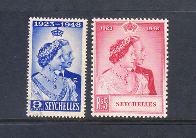 SEYCHELLES 1948 SILVER WEDDING 151-2. The $5 HV is fresh MH . Start at US$3.90
