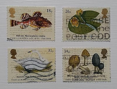 Complete British used stamp set - 1988 Linnean Society Bicentenary