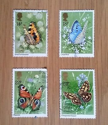 Complete British used stamp set: 1981 Butterflies