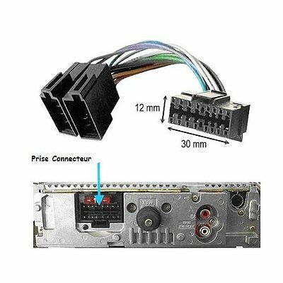 Cable ISO pour autoradio SONY CDX-GT100 CDX-GT111 CDX-GT121 CDX-GT200 CDX-GT200S