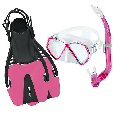 Mares CORAL PRO Silicone Snorkel Set in PINK with Mask, Snorkel Fins CHILD 8/13