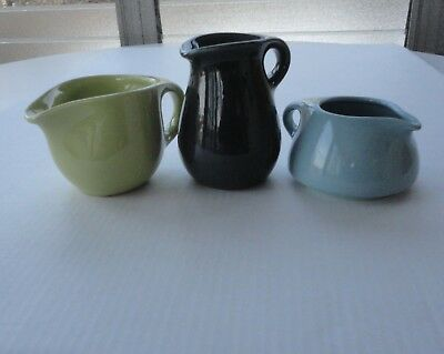 3 MCM Modern Russel Wright Sterling China Green Pitcher & Yellow  Blue Creamer
