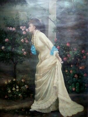 EXPERT HELP REQUIRED, old rolled up oil on canvas, young lady smelling flowers.