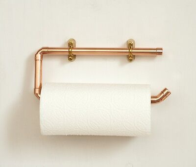 Handmade Copper & Brass Wall Mounted Kitchen Roll Holder / Industrial Style