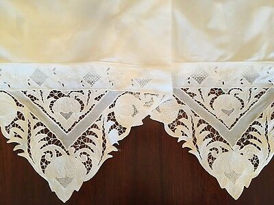 "1 Pair Antique Madeira Pillowcases Elaborate Embroidery Cut Work 18"" x 32"""