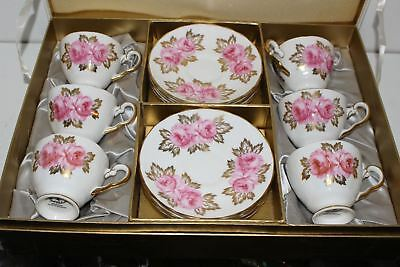 6 Vintage Royal Chelsea Rch1 Cup & Saucer Sets W/box-Pink Roses W/gold Leaves