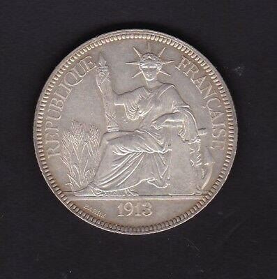 French Indo China 1913 Silver Piastre  Au Condition
