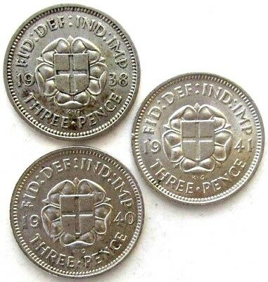 Great Britain Uk Coins, Threepence 1938 & 1940 & 1941, George Vi, Silver 0.500