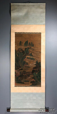 Chinese Scroll Painting on Silk, Landscape, Pavilions, Mountains, Damask Borders
