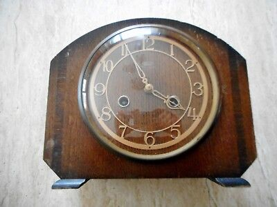 VINTAGE SMITH ENFIELD MAHOGANY MANTLE CLOCK. CHIMES, KEY. 1930s UK MADE