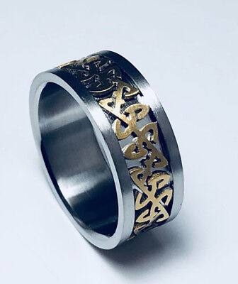 316L Stainless Steel Gold Plated Unique Celtic 8mm Ring Band Size 6-12 NEW SS112