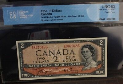 1954 $2 Devil's Face Bank note Canada  Coyne Towers C/B BC-30a UNC 63