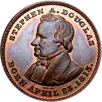 1860 Stephen Douglas Political Campaign Token Union & Equality by Merriam