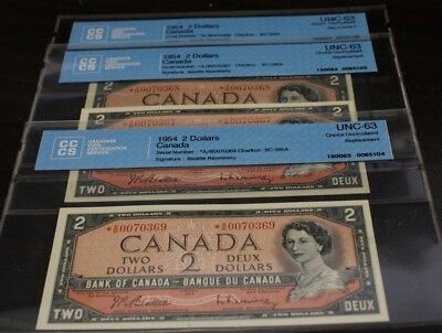 3x consecutive 1954 $2 Bank note Canada Replacement note * A/B  BC-38bA