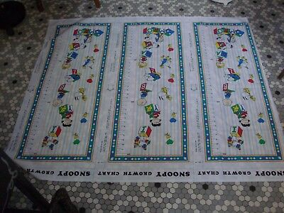 3 Vintage Uncut Peanuts Snoopy Growth Chart Fabric Panels 2150