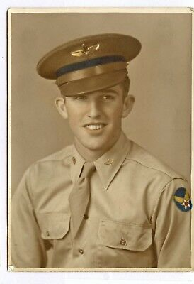 WWII WW2 Patched Patch Photo AAF Air Pilot Cadet Visor Hat Cap Badge COLORED 5x7
