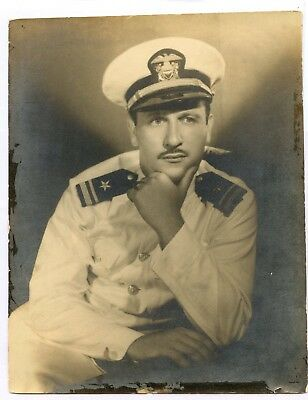 WWII WW2 US Navy Officer Photo MOVIE STAR?  Super Suave Looking USN Lt JG 8x10