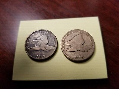 Lot Of 2 1857 & 1858 Flying Eagle Cents