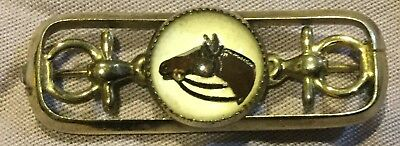 Horse Head in Crystal Costume Jewelry Gold Snaffle Bit Pin