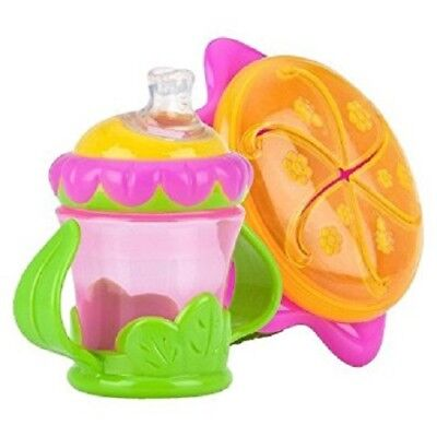 Nuby 2pc Flower Child Baby Feeding Set Snack Keeper and 2 Handle Training Cup