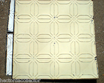 SALE Antique Ceiling Tin Tile Frame Simple & Elegant Chic Canvas Lemon Yellow