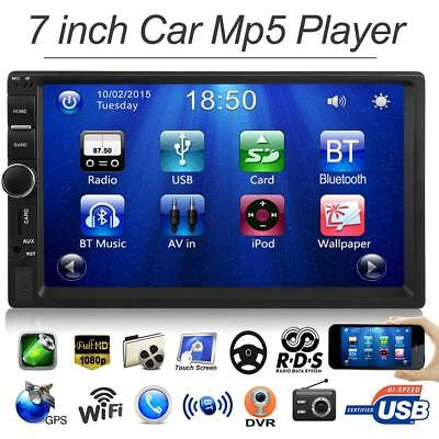 "2 Din 7""Car MP5 Player Bluetooth HD 1080P Touch Screen Stereo FM Radio w/Camera"