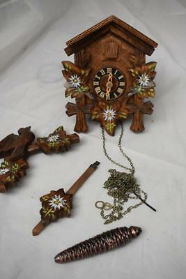 Vintage Black Forest Wooden Pendulum Cuckcoo Clock with weight - Made in Germany