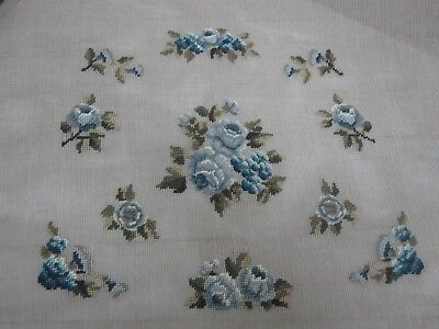 "VINTAGE PARAGON PREWORK NEEDLEPOINT CANVAS  with PRETTY BLUE ROSES 30"" X 28"""
